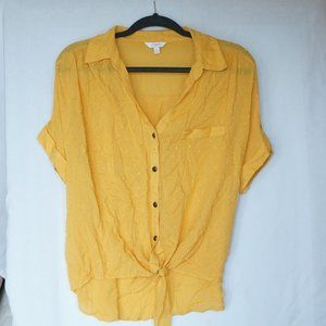 Front Tie Dot Button Up Top
